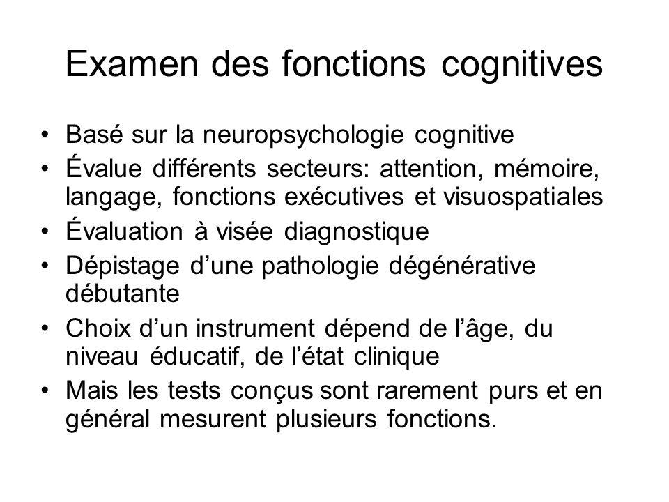 Examen des fonctions cognitives