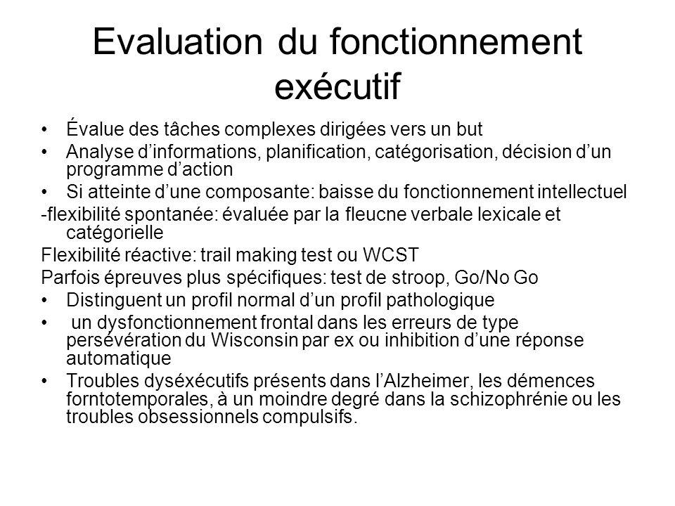 Evaluation du fonctionnement exécutif