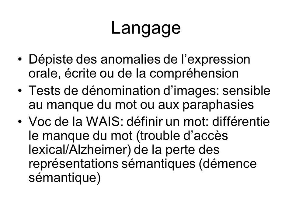 Langage Dépiste des anomalies de l'expression orale, écrite ou de la compréhension.