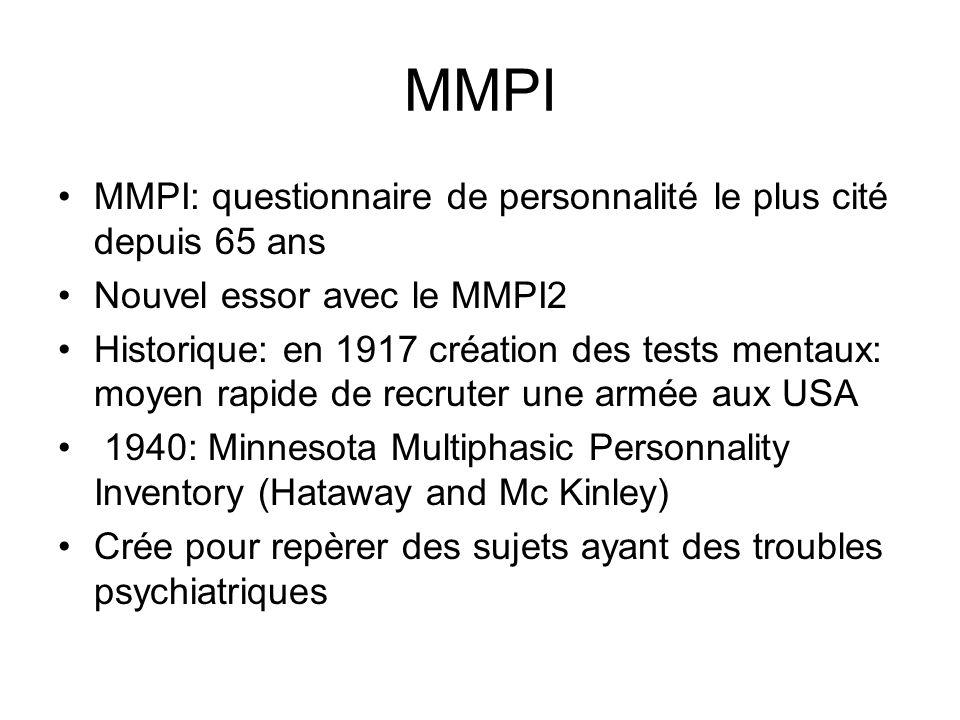 MMPI MMPI: questionnaire de personnalité le plus cité depuis 65 ans
