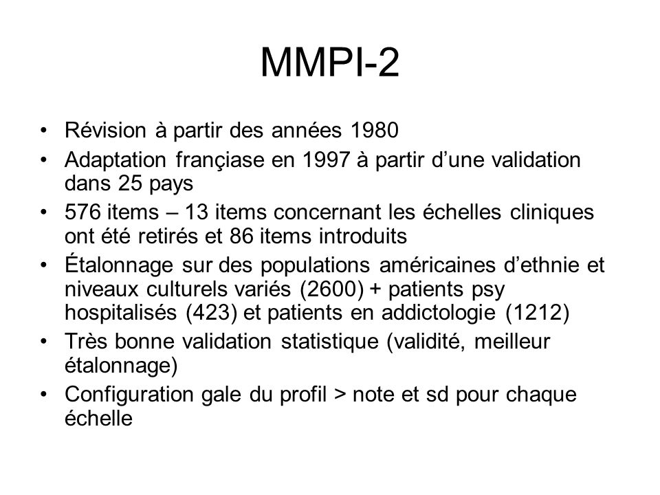 MMPI-2 Révision à partir des années 1980