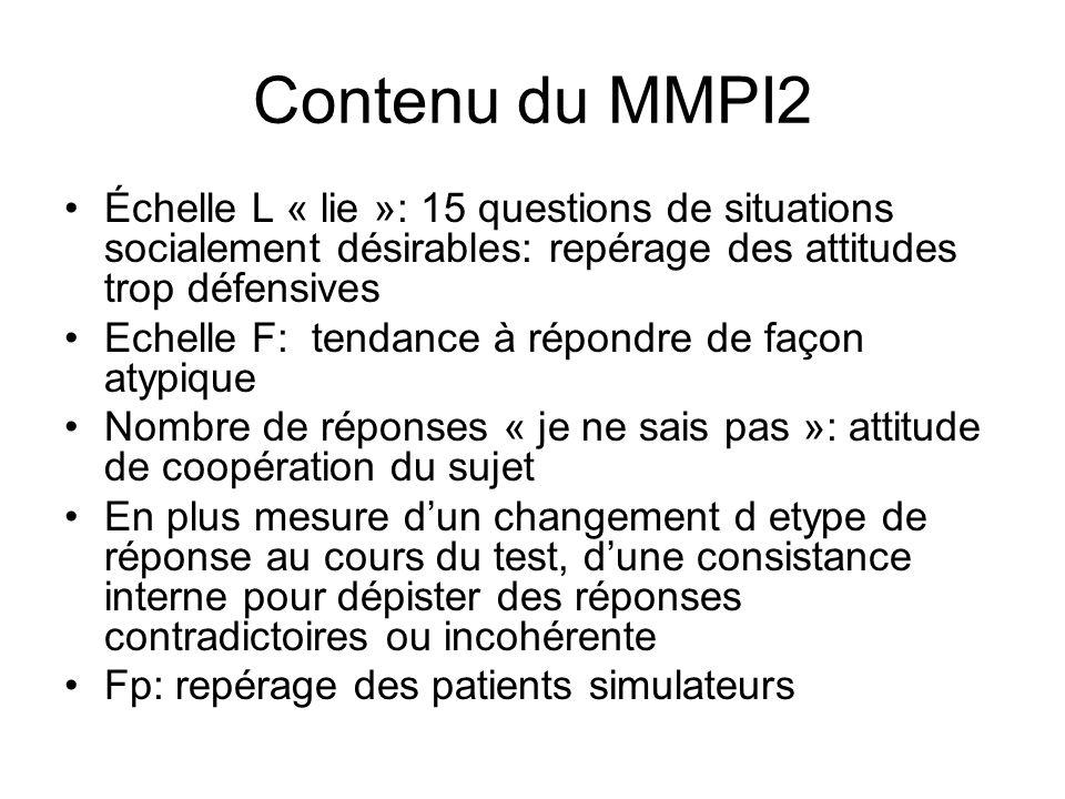 Contenu du MMPI2 Échelle L « lie »: 15 questions de situations socialement désirables: repérage des attitudes trop défensives.