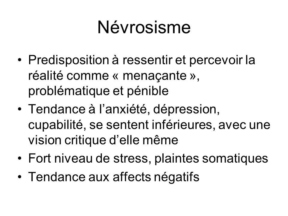 Névrosisme Predisposition à ressentir et percevoir la réalité comme « menaçante », problématique et pénible.