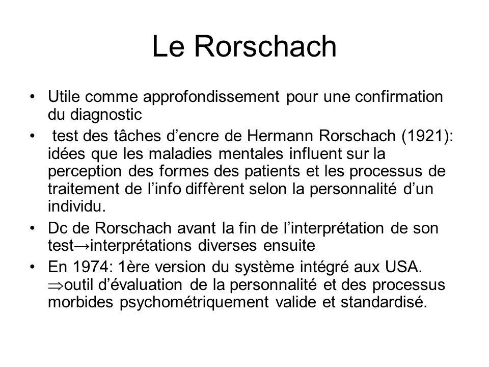 Le Rorschach Utile comme approfondissement pour une confirmation du diagnostic.