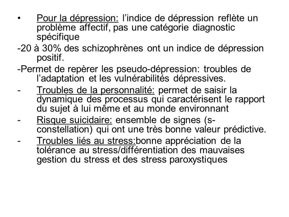 Pour la dépression: l'indice de dépression reflète un problème affectif, pas une catégorie diagnostic spécifique