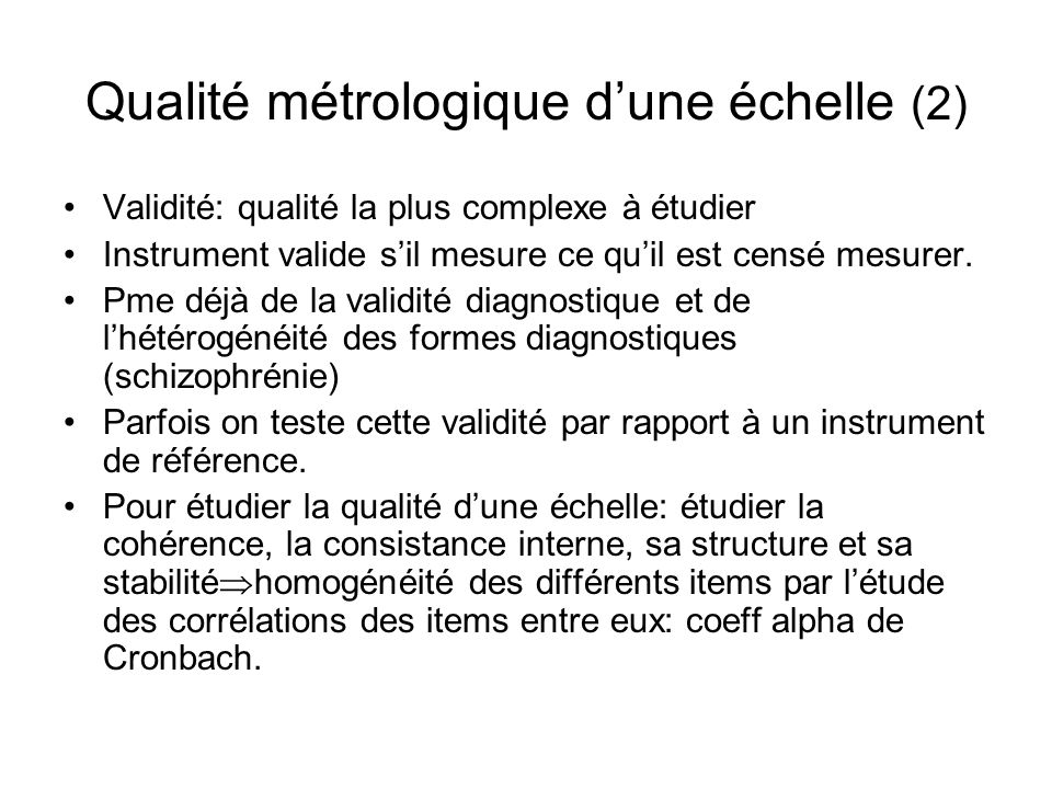 Qualité métrologique d'une échelle (2)