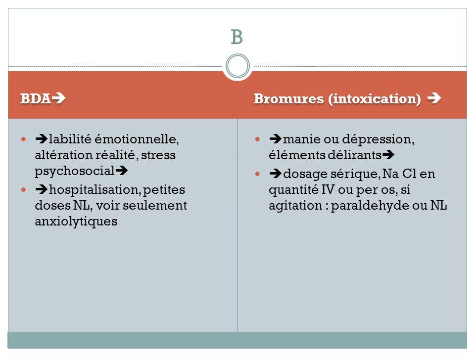 B BDA Bromures (intoxication) 