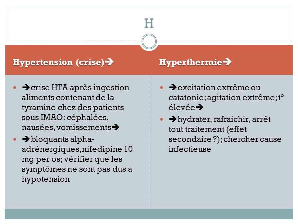 H Hypertension (crise) Hyperthermie