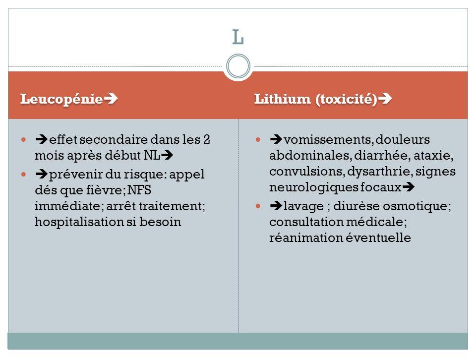 L Leucopénie Lithium (toxicité)