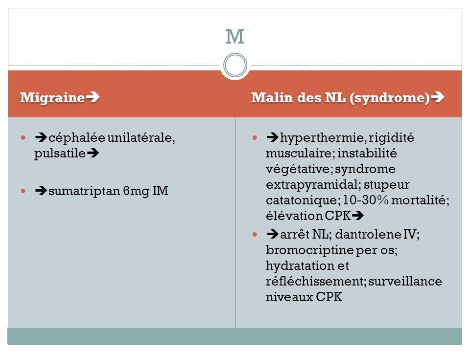 M Migraine Malin des NL (syndrome) céphalée unilatérale, pulsatile
