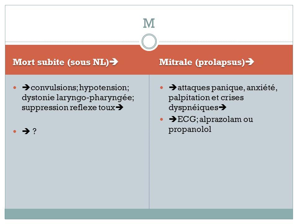 M Mort subite (sous NL) Mitrale (prolapsus)
