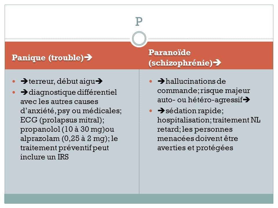 P Paranoïde (schizophrénie) Panique (trouble) terreur, début aigu