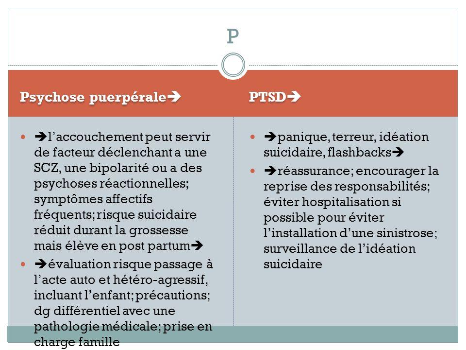 P Psychose puerpérale PTSD