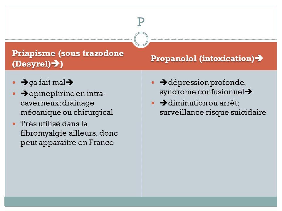 P Priapisme (sous trazodone (Desyrel)) Propanolol (intoxication)