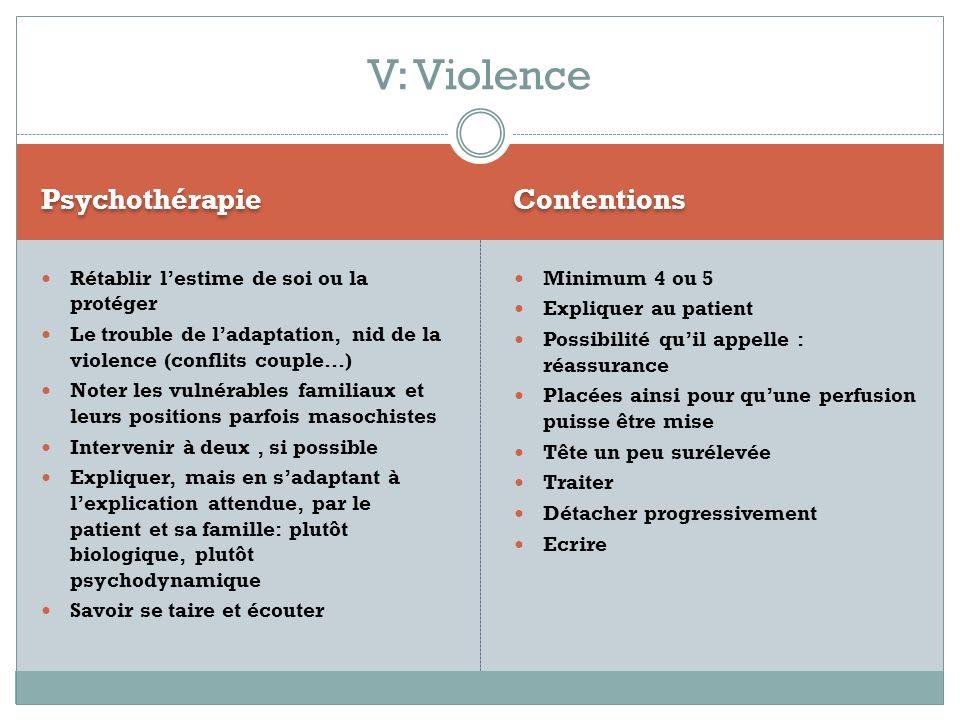 V: Violence Psychothérapie Contentions
