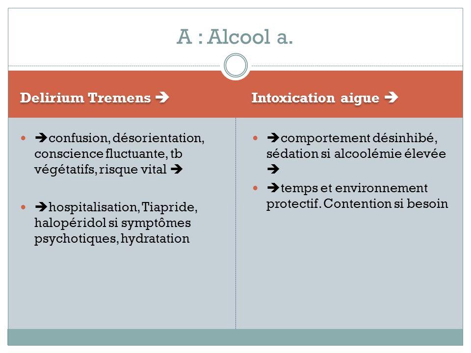 A : Alcool a. Delirium Tremens  Intoxication aigue 