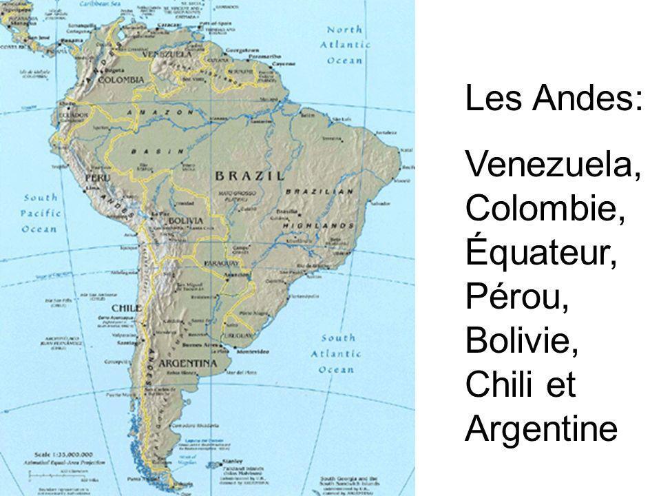 Les Andes: Venezuela, Colombie, Équateur, Pérou, Bolivie, Chili et Argentine