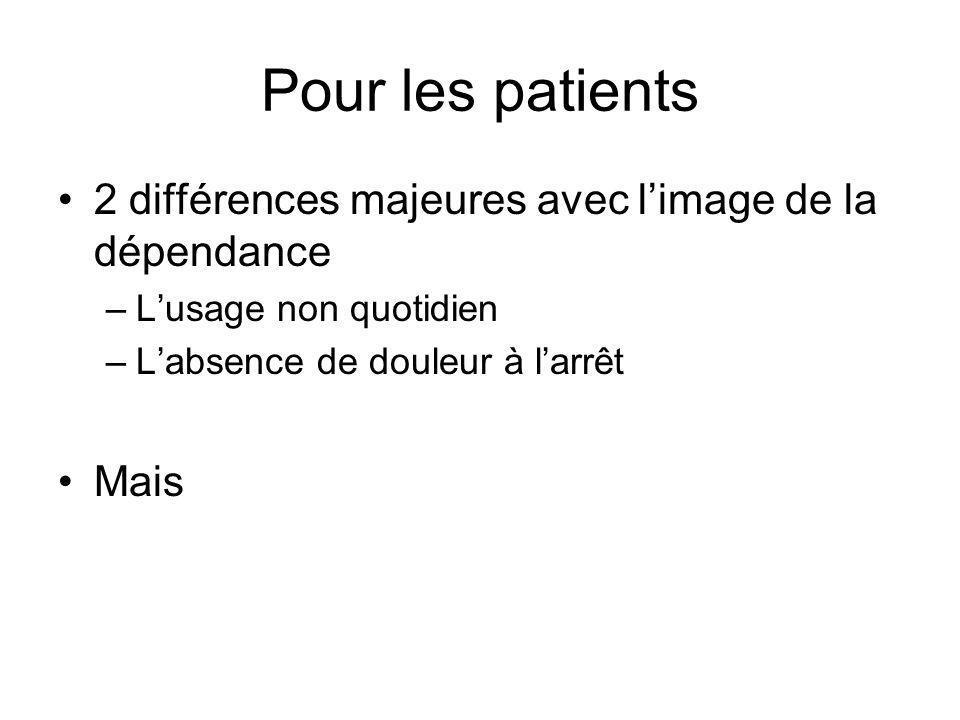 Pour les patients 2 différences majeures avec l'image de la dépendance
