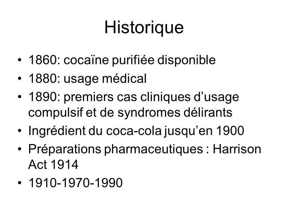 Historique 1860: cocaïne purifiée disponible 1880: usage médical