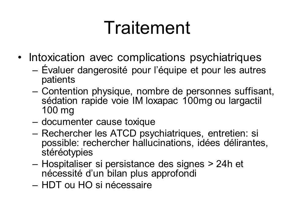 Traitement Intoxication avec complications psychiatriques