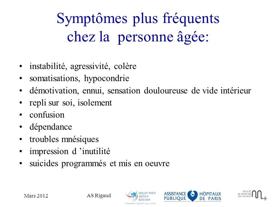 Symptômes plus fréquents chez la personne âgée: