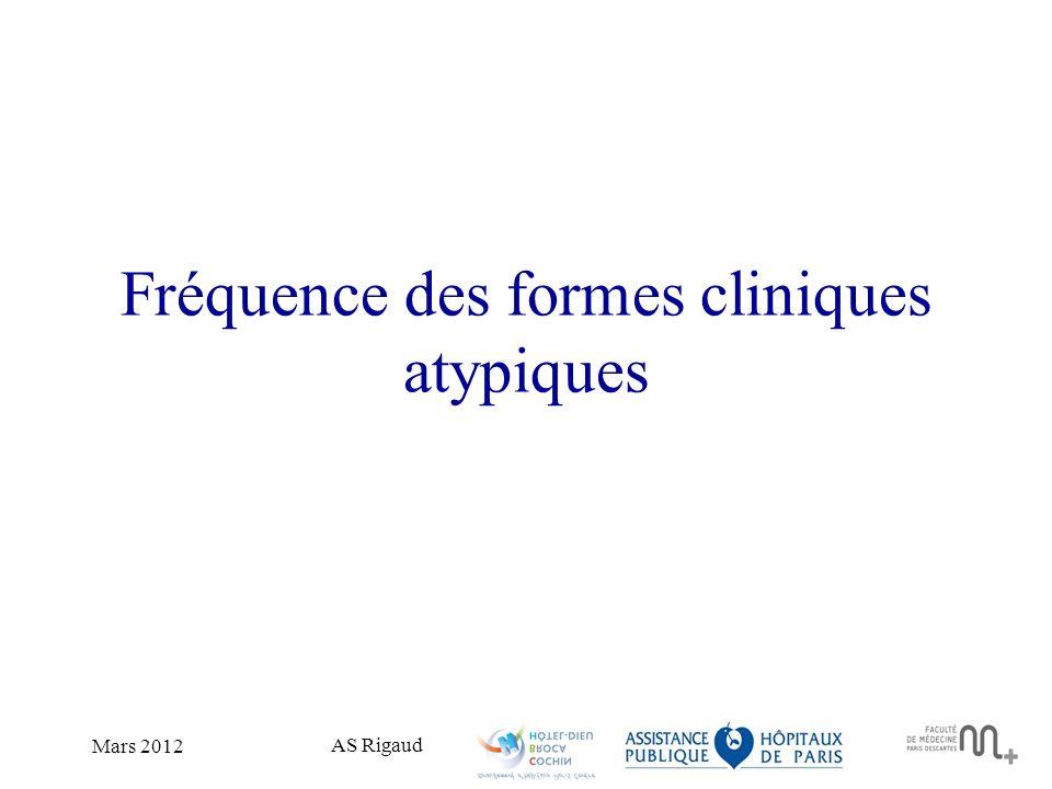 Fréquence des formes cliniques atypiques