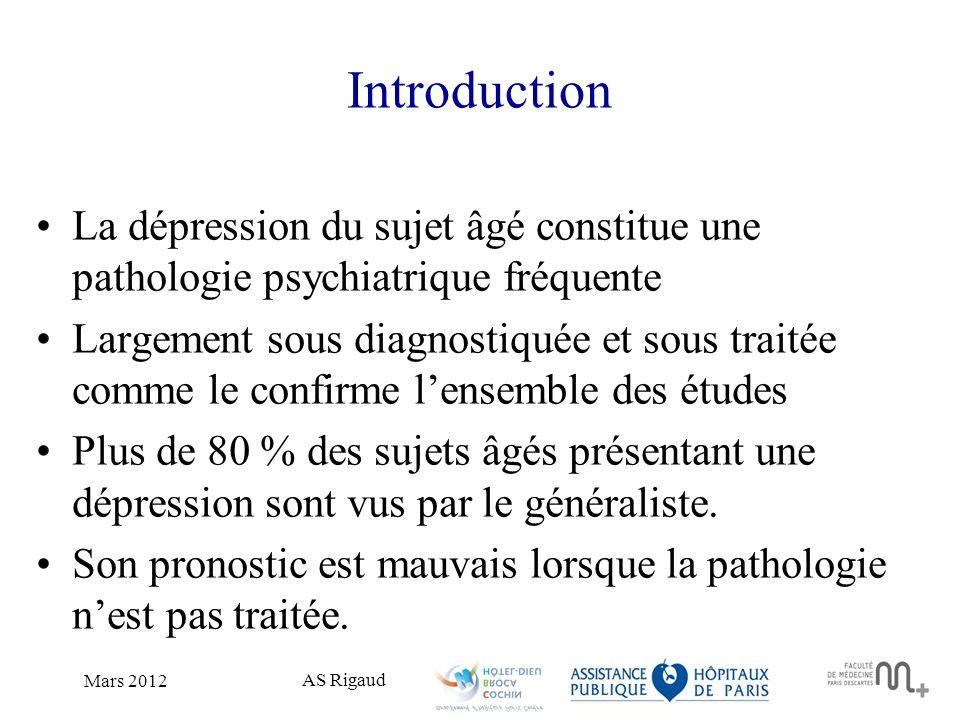 Introduction La dépression du sujet âgé constitue une pathologie psychiatrique fréquente.
