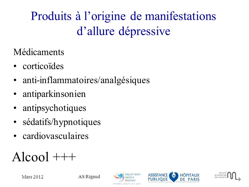 Produits à l'origine de manifestations d'allure dépressive