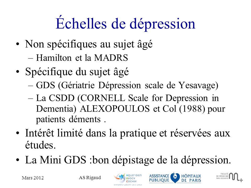 Échelles de dépression