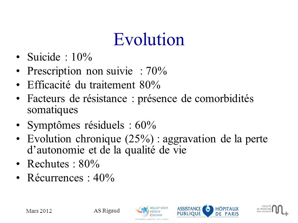 Evolution Suicide : 10% Prescription non suivie : 70%