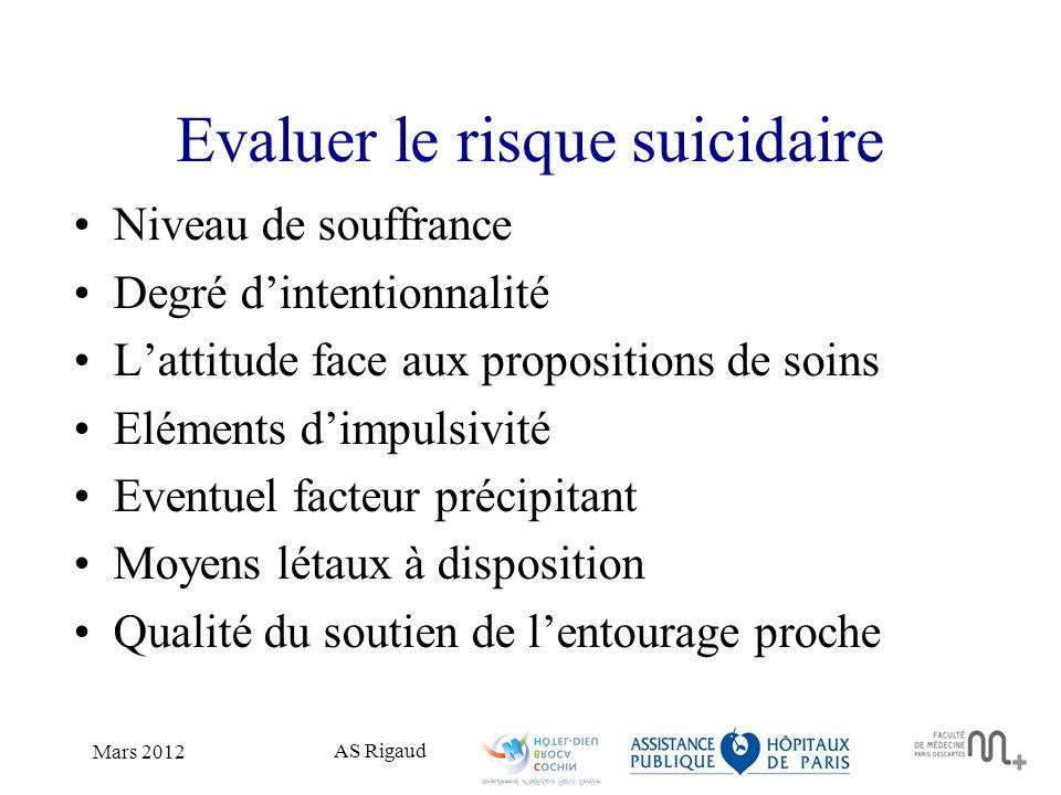 Evaluer le risque suicidaire