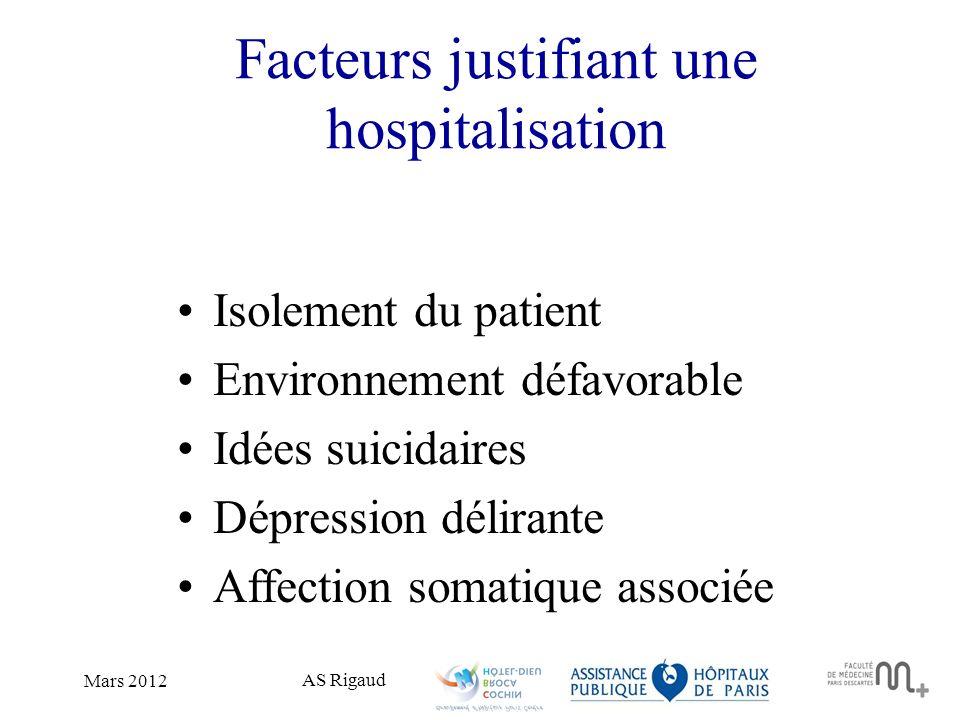 Facteurs justifiant une hospitalisation