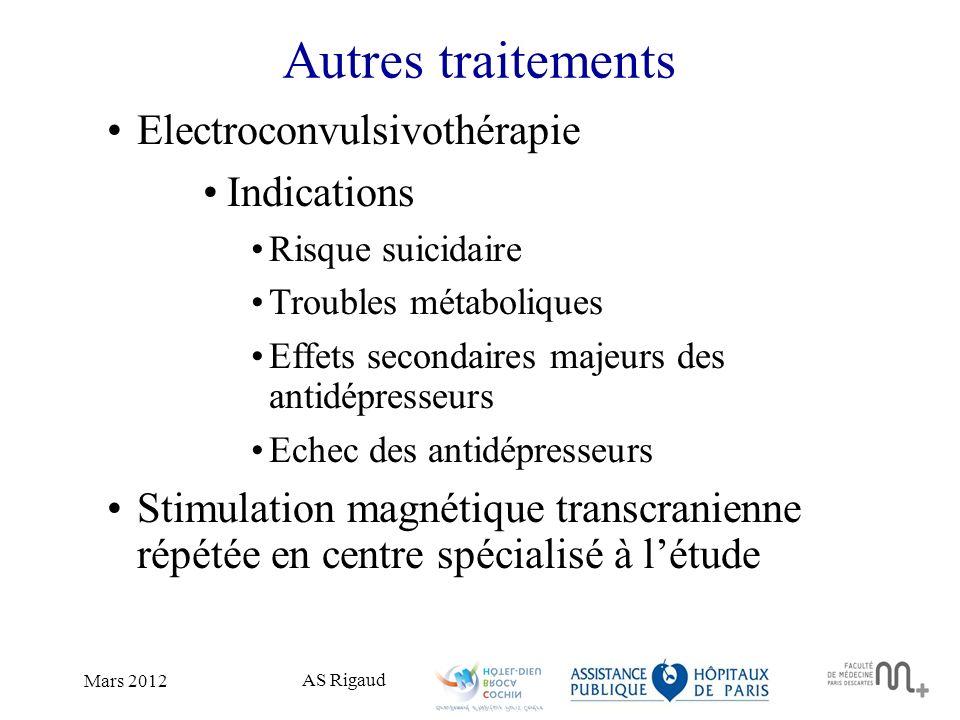 Autres traitements Electroconvulsivothérapie Indications