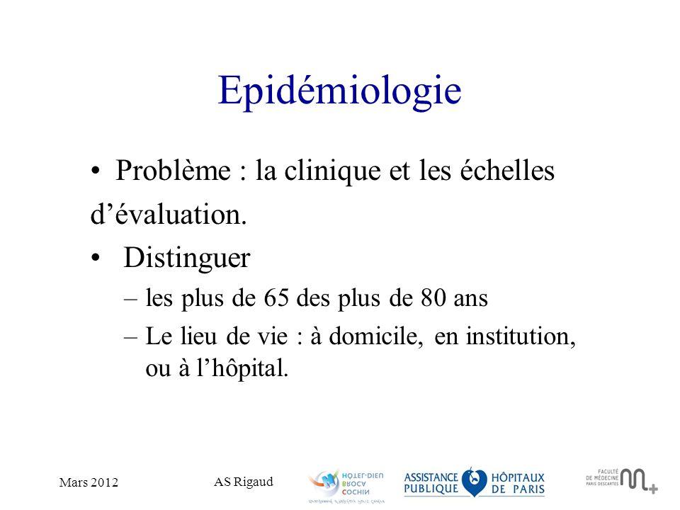 Epidémiologie Problème : la clinique et les échelles d'évaluation.