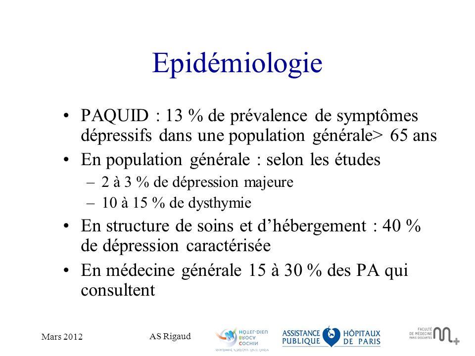 Epidémiologie PAQUID : 13 % de prévalence de symptômes dépressifs dans une population générale> 65 ans.