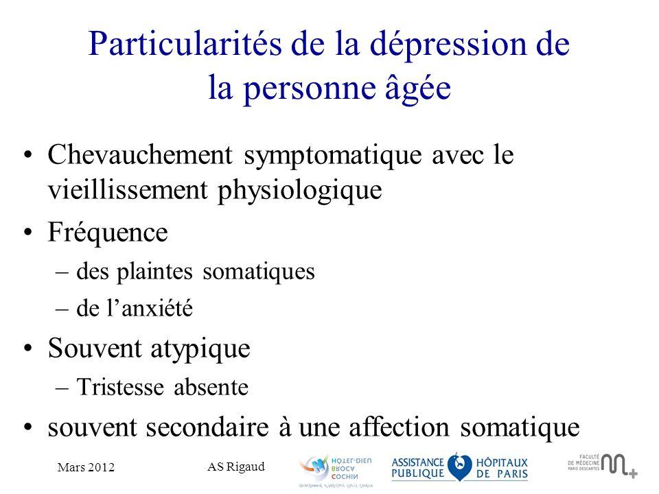 Particularités de la dépression de la personne âgée