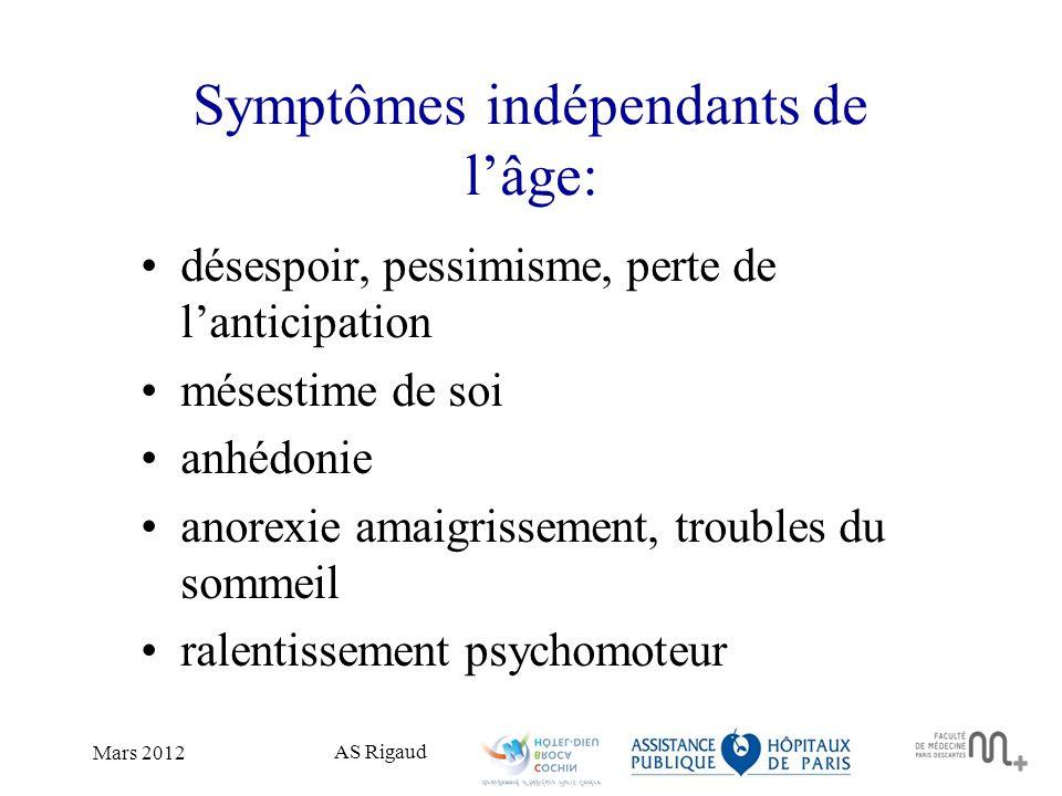 Symptômes indépendants de l'âge: