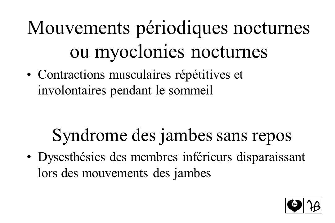 Mouvements périodiques nocturnes ou myoclonies nocturnes