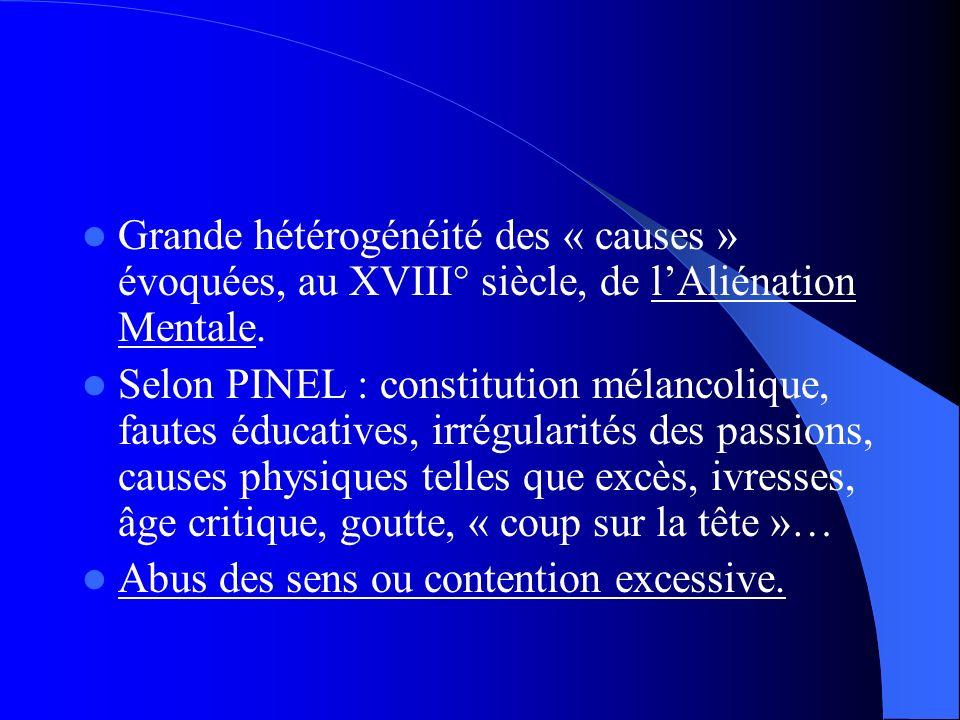 Grande hétérogénéité des « causes » évoquées, au XVIII° siècle, de l'Aliénation Mentale.