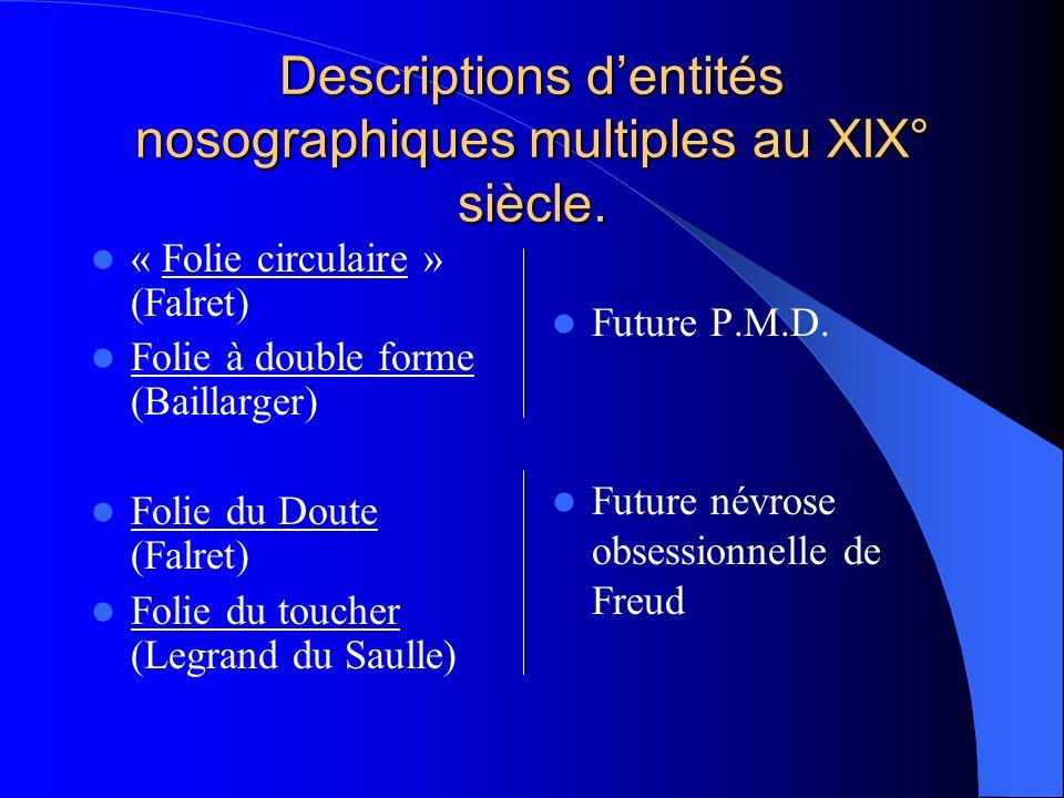 Descriptions d'entités nosographiques multiples au XIX° siècle.