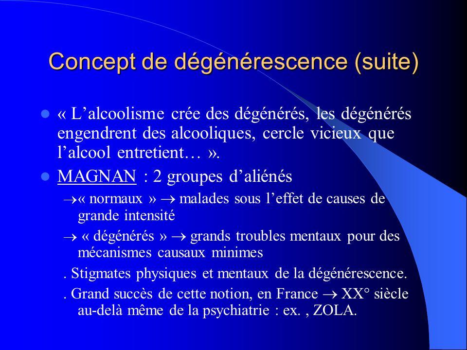 Concept de dégénérescence (suite)