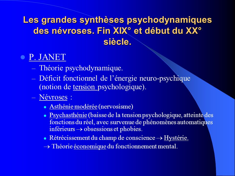 Les grandes synthèses psychodynamiques des névroses