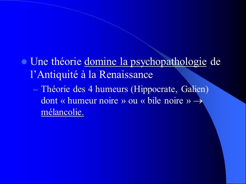 Une théorie domine la psychopathologie de l'Antiquité à la Renaissance