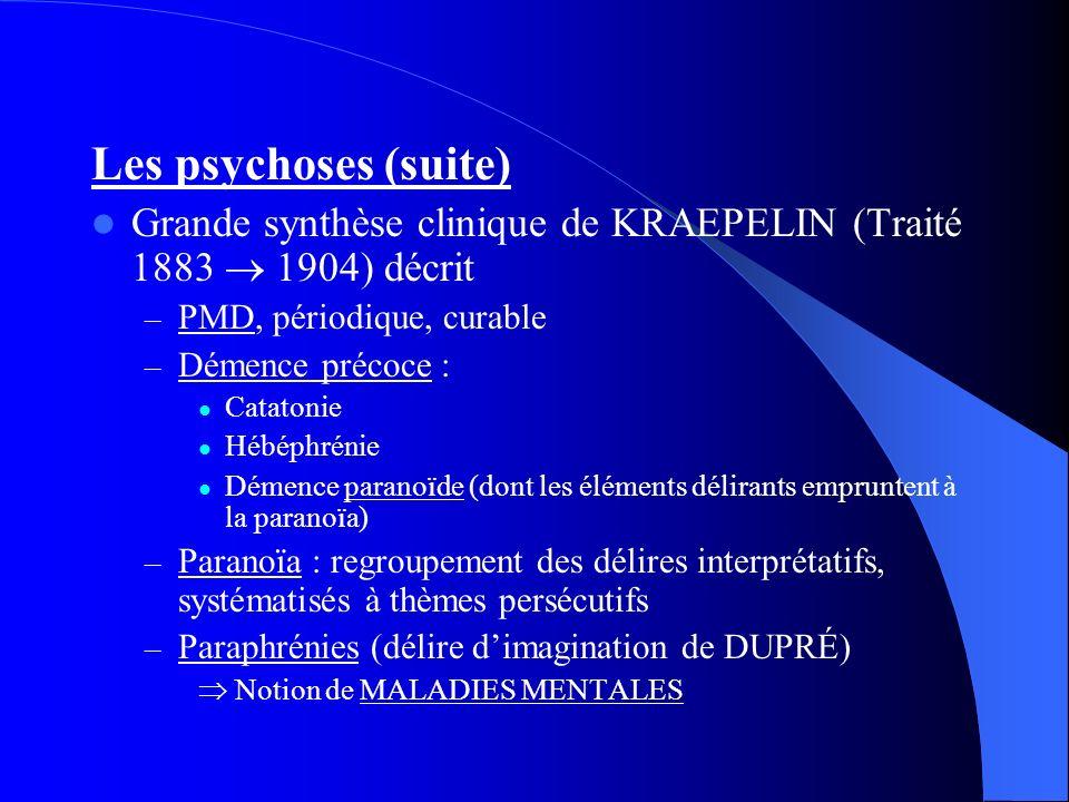 Les psychoses (suite) Grande synthèse clinique de KRAEPELIN (Traité 1883  1904) décrit. PMD, périodique, curable.