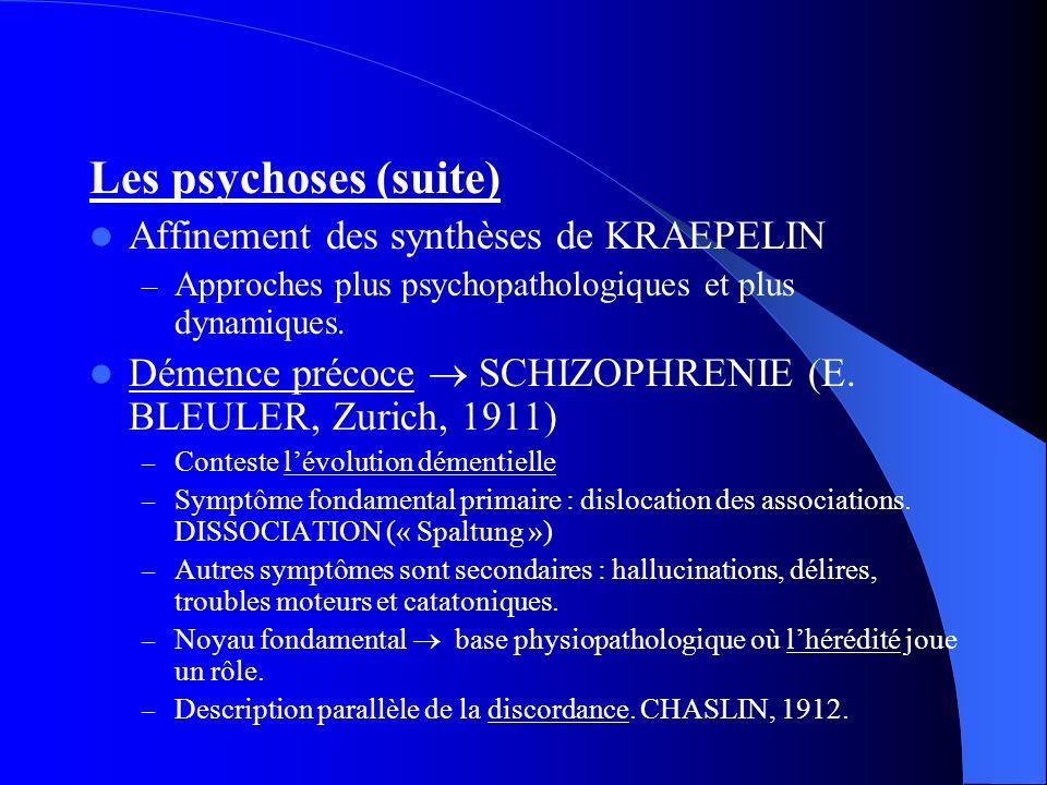 Les psychoses (suite) Affinement des synthèses de KRAEPELIN