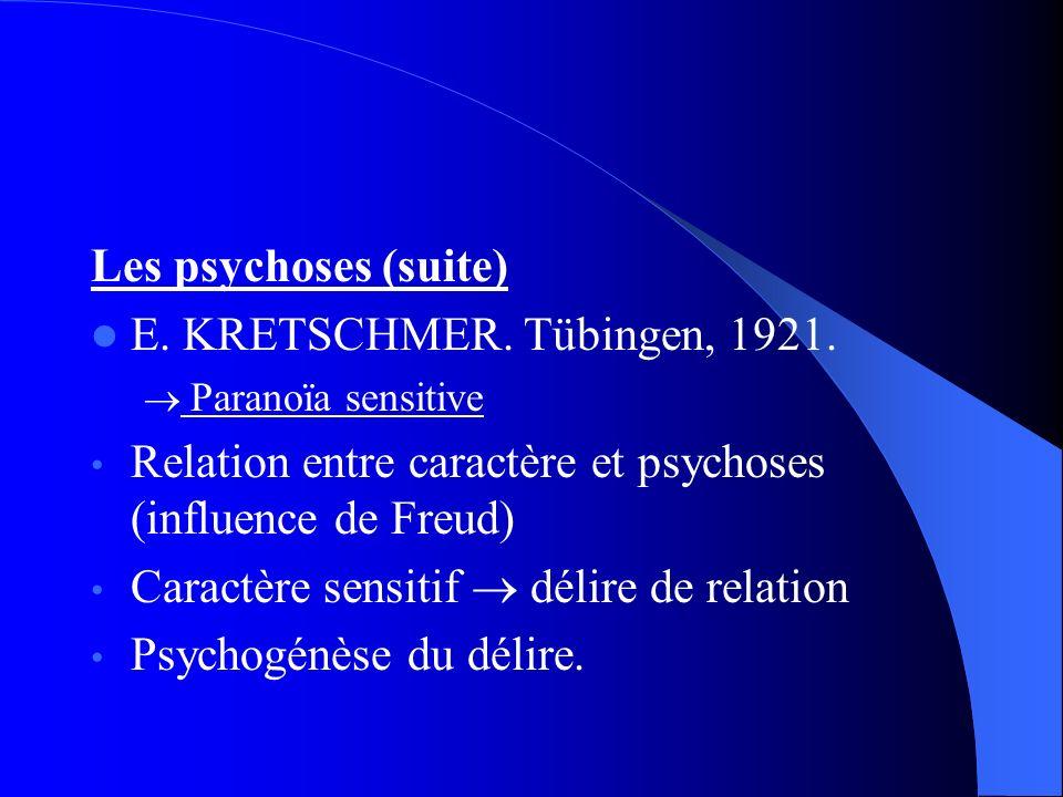 Relation entre caractère et psychoses (influence de Freud)