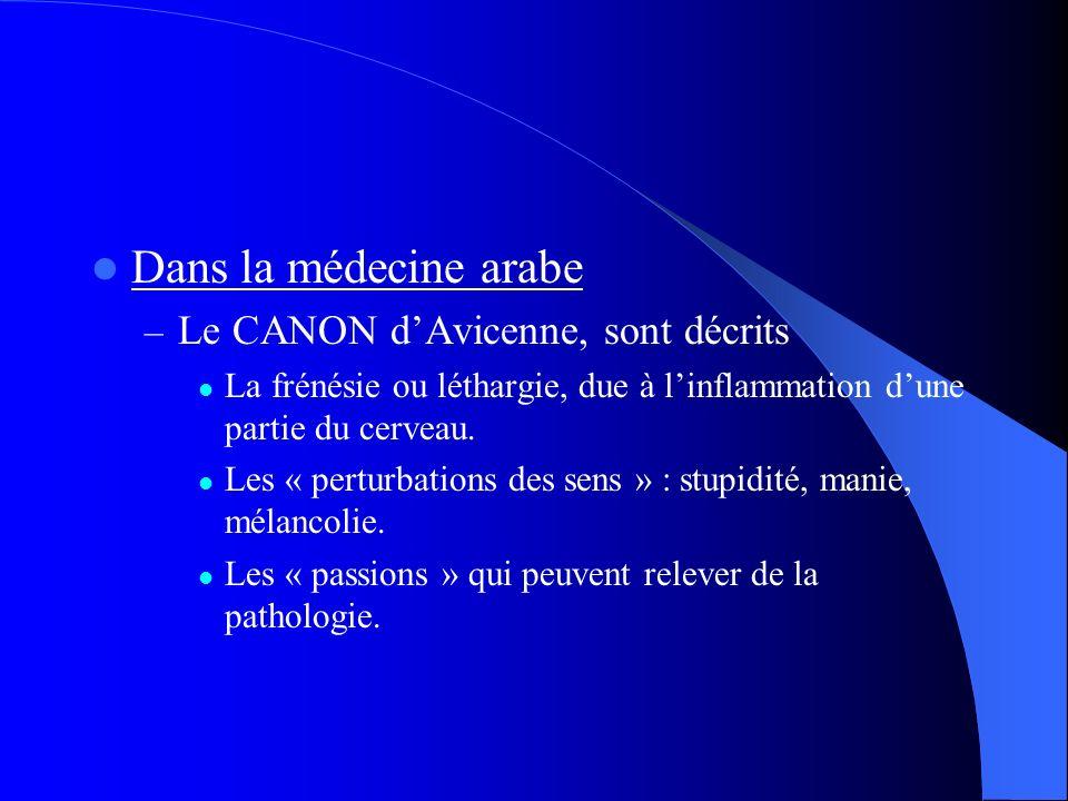 Dans la médecine arabe Le CANON d'Avicenne, sont décrits