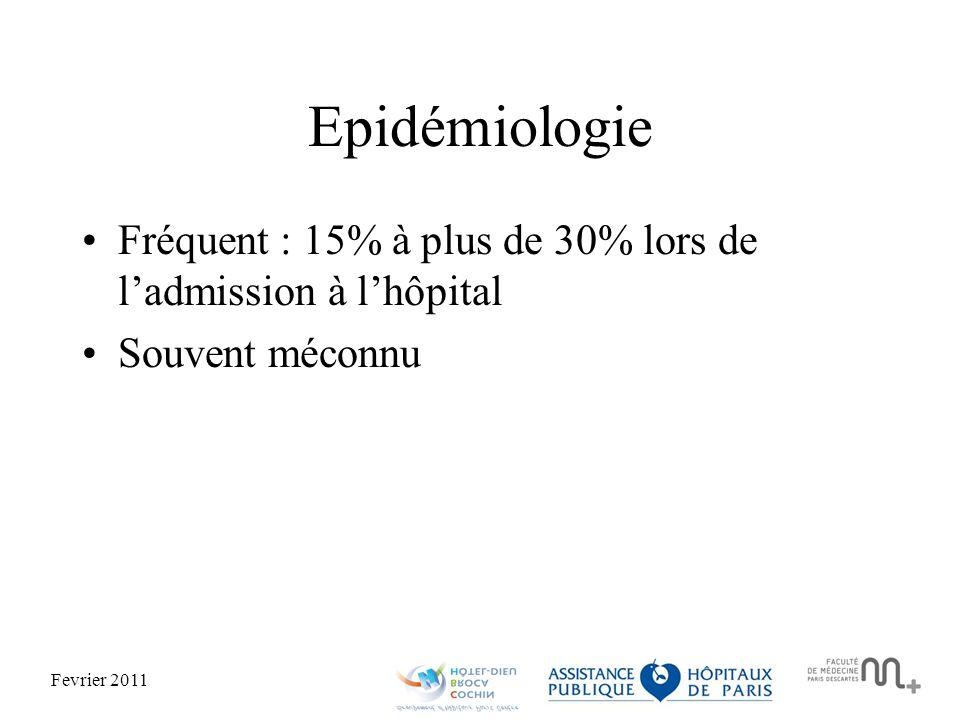 Epidémiologie Fréquent : 15% à plus de 30% lors de l'admission à l'hôpital Souvent méconnu
