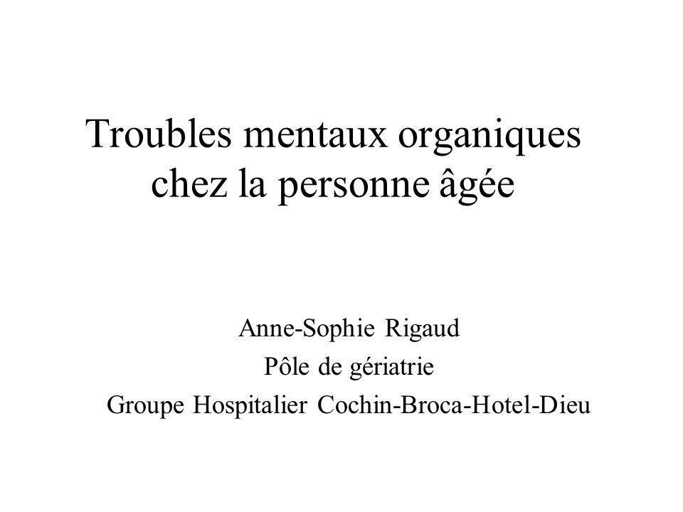 Troubles mentaux organiques chez la personne âgée
