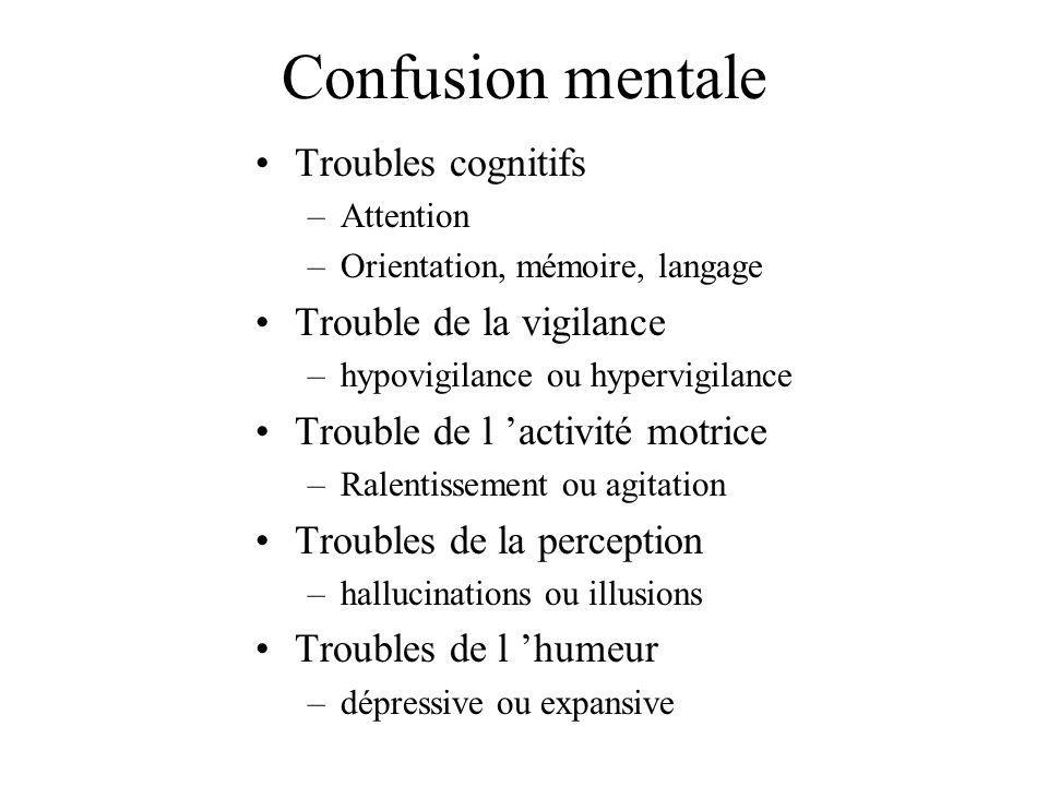 Confusion mentale Troubles cognitifs Trouble de la vigilance